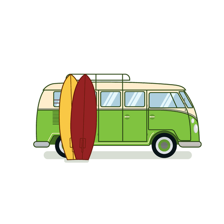Surfer van with two surfboards isolated on white background. Retro car old fashioned design flat vector illustration. For travel agency, surfer or hippie gritting card, congratulation, banner.