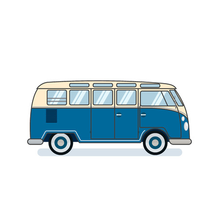 白い背景に隔離されたサーファーバン。レトロな車。昔ながらのデザイン。フラット ベクトルの図。  イラスト・ベクター素材