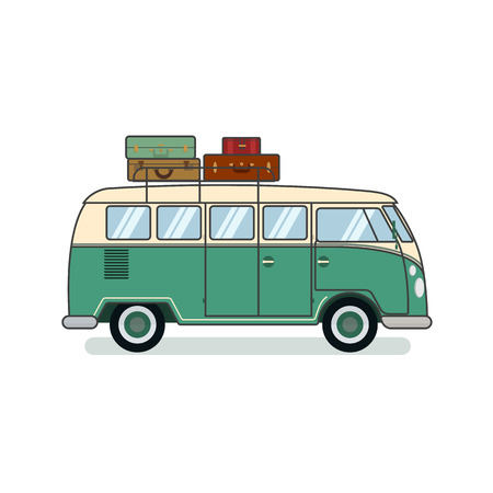 Surfer van with with stack of old fashioned suitcases on trunk isolated on white background. Retro car. Flat vector illustration. For travel agency, surfer, hippie gritting card, congratulation banner