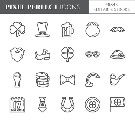 St. Patricks Day theme pixel perfect thin line icons. Set of elements of shamrock, leprechaun hat, gold and other holiday related pictograms. Vector illustration. 48x48 pixels. Editable stroke.