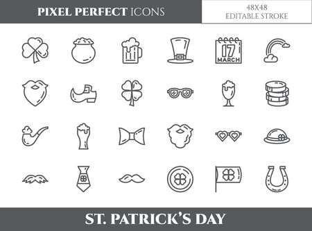 St. Patrick's Day theme pixel perfect thin line icons. Set of elements of shamrock, leprechaun hat, gold and other holiday related pictograms. Vector illustration. 48x48 pixels. Editable stroke.