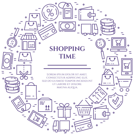 Shopping theme violet horizontal banner. Pictograms of bag, credit card, shop, delivery, cash, wallet, cart, sticker, other purchases related elements. Vector illustration Line out Editable stroke