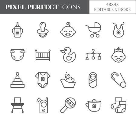 Baby theme pixel perfect 48X48 icons. Standard-Bild - 96448060