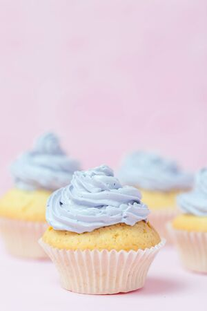 Cupcake decorated with violet buttercream on pastel pink background. Sweet beautiful cake. Vertical banner, greeting card for birthday, wedding, women's day. Close up photography. Selective focus. Imagens