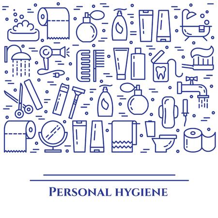 Bannière de ligne bleue d'hygiène personnelle. Ensemble d'éléments de douche, savon, salle de bain, WC, brosse à dents et autres pictogrammes de nettoyage. Line out. Silhouette simple. AVC modifiable. Illustration vectorielle. Vecteurs