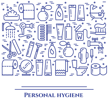 Personal hygiene blue line banner. Set of elements of shower, soap, bathroom, toilet, toothbrush and other cleaning pictograms. Line out. Simple silhouette. Editable stroke. Vector illustration. Illustration