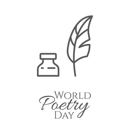 Bandera del día mundial de la poesía con pluma delgada línea y tintero aislado sobre fondo blanco - concepto de tarjeta de felicitación o cartel. Esquema de ilustración vectorial. Ilustración de vector