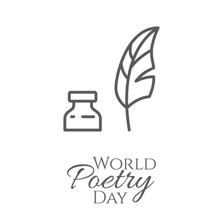 World poetry day banner with thin line feather and inkwell isolated on white background - concept for congratulation card or poster. Outline vector illustration. Vettoriali