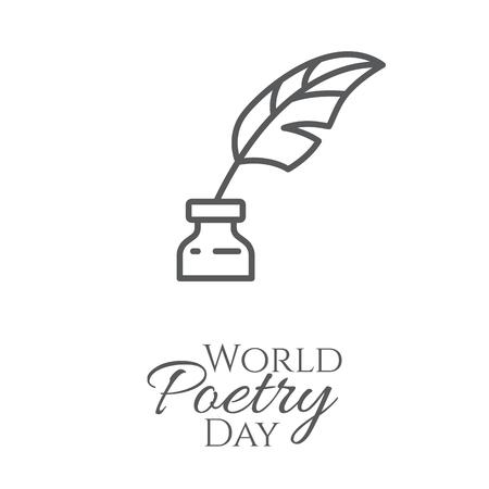 Bandera del día mundial de la poesía con tintero y pluma de contorno en él aislado sobre fondo blanco - concepto de tarjeta de felicitación o cartel. Ilustración de vector de arte de línea delgada.