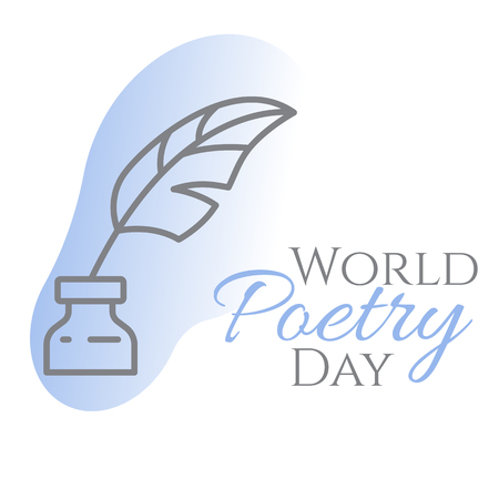 World poetry day banner with thin line inkwell and feather in it on blue background - concept for congratulation card or poster. Outline art vector illustration.
