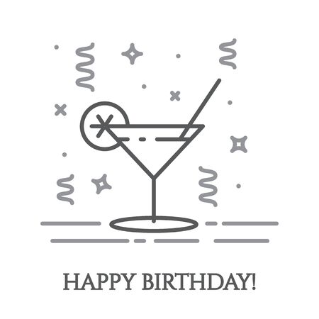 Cocktail in martini glass and confetti around it in thin line style isolated on white background - minimalistic greeting and congratulation card, invitation to party. Vector illustration. 일러스트