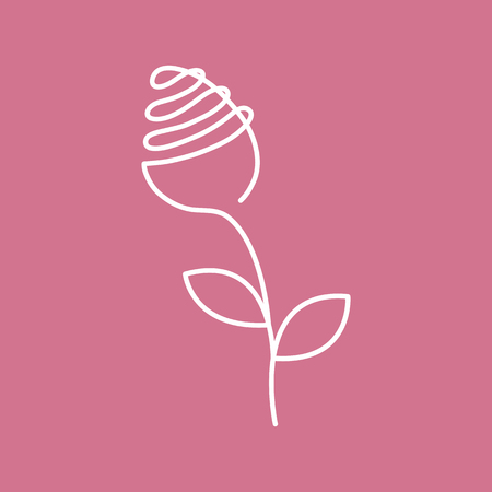 Continuous line drawing rose with leaf - abstract modern logo or decoration. Single line of flower form. Fancy line art of blossom. Vector illustration isolated on pink background.