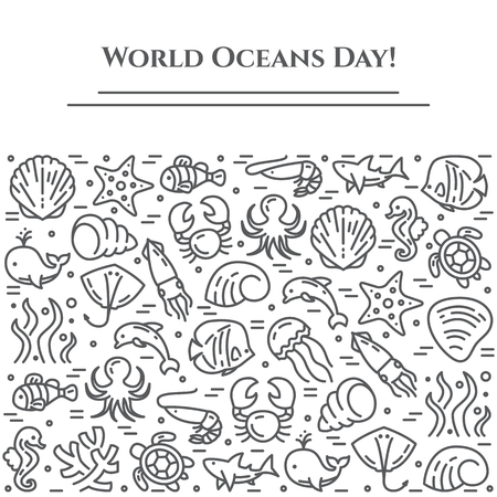 World oceans day black and white banner, pictograms of fish, shell, shark, dolphin, turtle and other sea creatures theme related line elements. Simple silhouette, editable stroke vector illustration. Иллюстрация