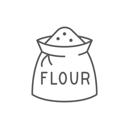 Bag with flour editable thin line icon isolated on white background. Pixel perfect simple symbol of organic farm cereal food ingredient, vector illustration.