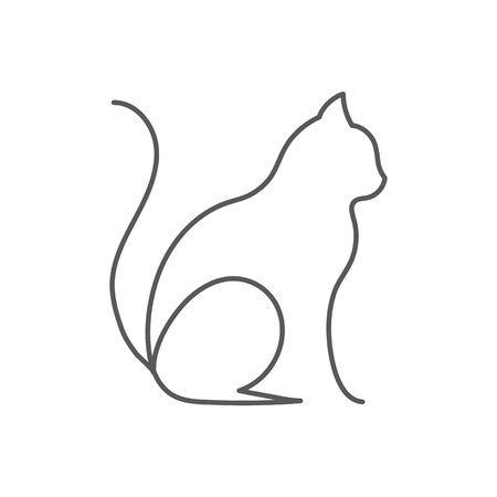 Cat continuous line drawing cute pet sits with raised tail side view isolated on white background, editable stroke vector illustration of domestic animal in one line for icon or decorative element.
