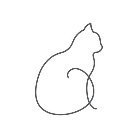 Cat continuous line drawing cute pet sits with twisted tail side view isolated on white background. Editable stroke vector illustration of domestic animal in one line for icon or decorative element. Vectores