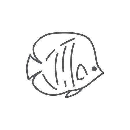 fish sea animal editable line icon beautiful ocean or aquarium pixel perfect vector illustration isolated on