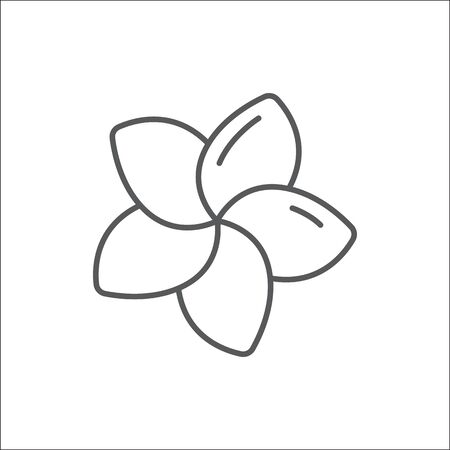 Plumeria editable outline icon - pixel perfect symbol of tropical flower in thin line art style isolated on white background. Exotic floral element in vector illustration.