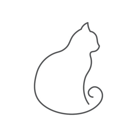 Cat continuous line drawing. Cute pet sits with twisted tail side view isolated on white background. Editable vector illustration of domestic animal in one line for logo or decorative element.