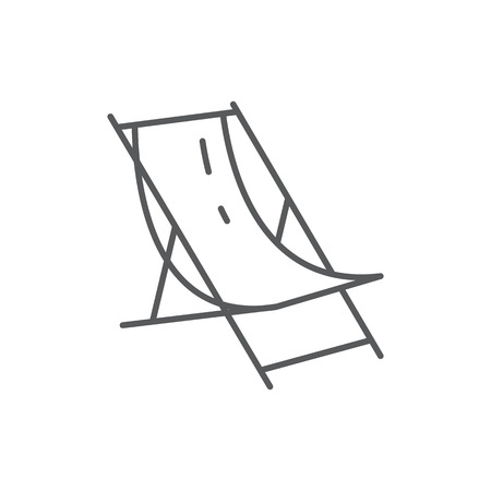 Beach lounge for summertime vacation theme - editable icon isolated on white background. Outline vector illustration of chair for tanning pixel perfect element. Illustration