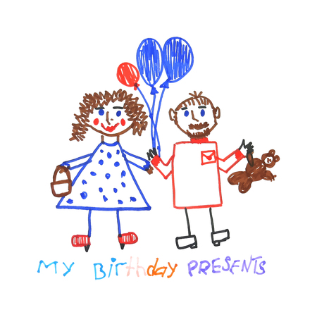 Kid doodle of birthday party guests with balloons and presents isolated on white background. Children drawing felt-tip pen of man and woman with b-day gifts. Vector illustration.