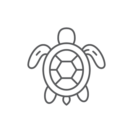 Turtle sea and ocean wildlife or aquarium marine animal editable outline icon - pixel perfect symbol of underwater creature isolated on white background. Aquatic thin line vector illustration.