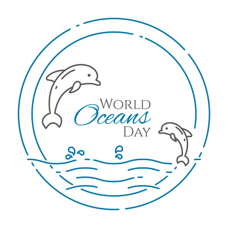 Couple of dolphins jumping above water in circle - line style world oceans day banner isolated on white background. Outline sea and ocean animals - environment vector illustration.