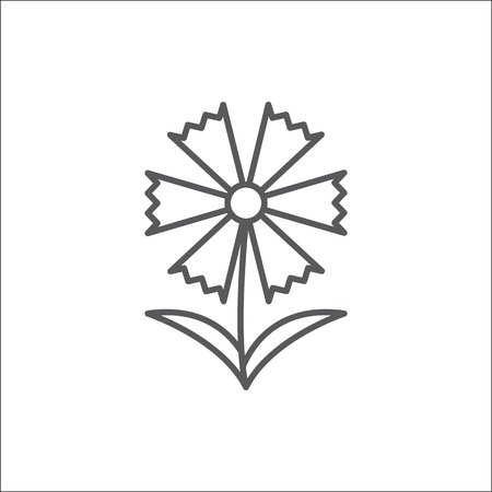 Cornflower editable outline icon - pixel perfect symbol of summer flowering plant in thin line art style isolated on white background. Beautiful centaurea cyanus floral element in vector illustration.