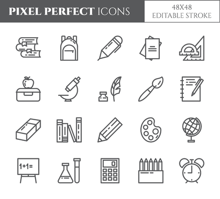 School supplies line editable pixel perfect icons set with various elements for study and education process isolated on white background. Outline vector illustration of student equipment.