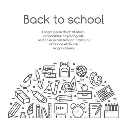 Back to school vector illustration banner with studying supplies in line art. Various elements for study and education process isolated on white background - outline greeting or promotion card.