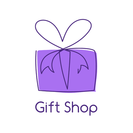 Present box continuous editable line vector illustration with violet wrap. Trendy abstract surprise package with ribbon and bow isolated on white background for gift shop  icon or congratulation. Vettoriali