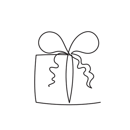 Present box continuous editable line vector illustration - wrapped surprise package with ribbon and bow isolated on white background. Trendy abstract gift for logo or congratulation.