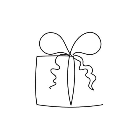 Illustrazione di vettore di linea modificabile continua casella presente - pacchetto sorpresa avvolto con nastro e fiocco isolato su priorità bassa bianca. Regalo astratto alla moda per logo o congratulazioni.