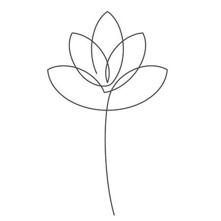 Illustration vectorielle de fleur lotus ligne continue avec trait modifiable. Dessin au trait unique de beau nénuphar pour design floral ou icône isolé sur fond blanc. Vecteurs