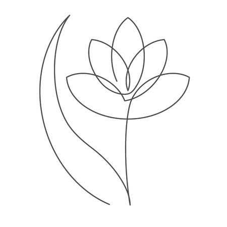 Fleur avec illustration vectorielle de feuille ligne continue avec trait modifiable. Dessin au trait unique de belle fleur pour design floral ou icône isolé sur fond blanc. Vecteurs
