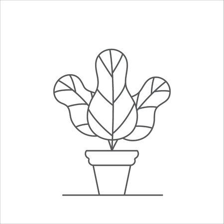 Zimmerpflanze editierbare Linie Vektor-Illustration - Umriss Zimmerpflanze mit drei großen Blättern im Blumentopf lokalisiert auf weißem Hintergrund. Abstrakte dekorative Topfblume.