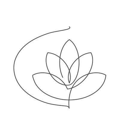 Illustrazione di vettore di linea continua di loto fiore con tratto modificabile - disegno a tratteggio singolo di bella ninfea per disegno floreale o logo isolato su priorità bassa bianca.