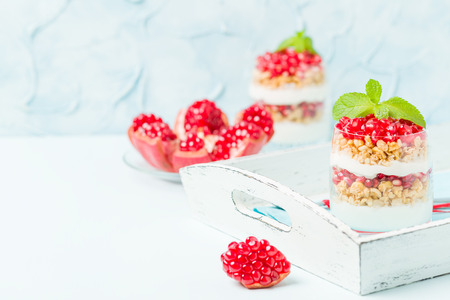 Pomegranate parfait Stock Photo