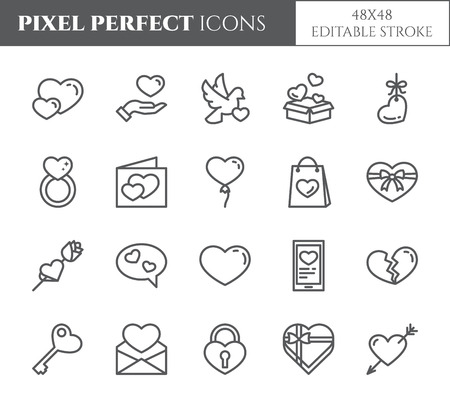 Love and Valentines Day theme line icons with editable stroke isolated on white Illustration