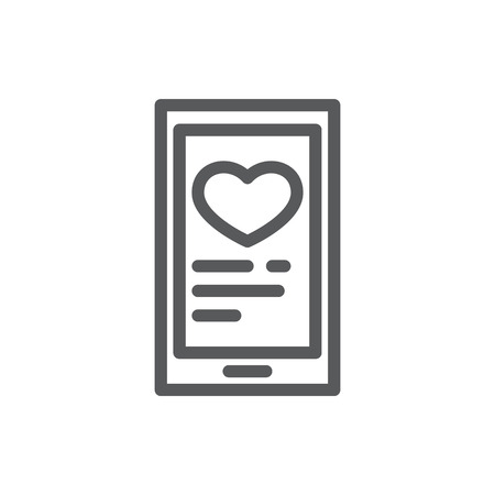 Mobile phone with heart in chat or message window line icon with editable stroke