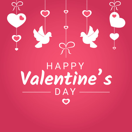Happy Valentine Day or wedding congratulation banner with various love symbols hanging on ribbons. White hearts and doves with greeting sign on pink background in vector illustration. 일러스트