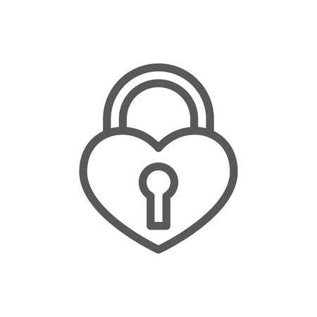 Padlock in form of heart with keyhole - line icon with editable stroke. Isolated Outline romantic symbol of love and fidelity symbol in vector illustration for Valentines Day or romantic concept.
