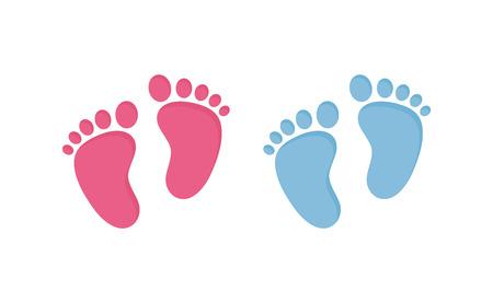 Ślady dziecka - pary różowych i niebieskich śladów w płaskim stylu na białym tle Ilustracje wektorowe