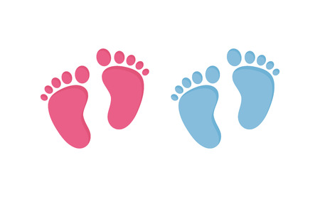 Baby footsteps - pairs of pink and blue footprints in flat style isolated on white