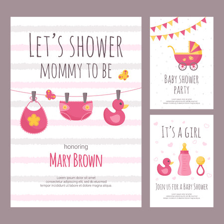 Baby shower invitation vector illustration set in flat style. Collection of vertical banners with pink toddler toys and clothing on white textured background - celebration of baby girl birth.