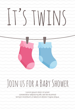 Baby twins arrival and shower invitation template with pink and blue toddler socks hanging on pins.