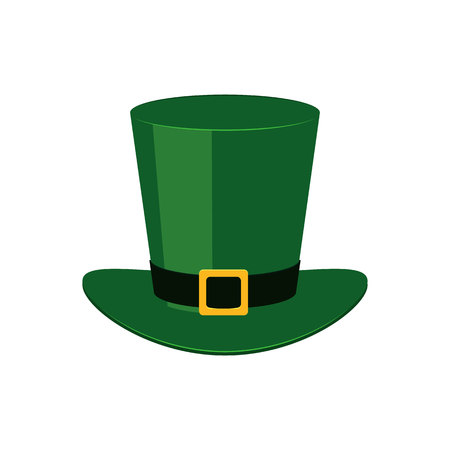 Green leprechaun top hat - traditional symbol of St Patrick Day in flat style. Vector illustration of fantasy fairy cap isolated on white background for 17 March holiday design. Illustration