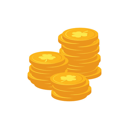 Stack of golden coins with clover sign - traditional symbol of St Patrick Day in flat style. Vector illustration of pile of gold isolated on white background for 17 March holiday design.