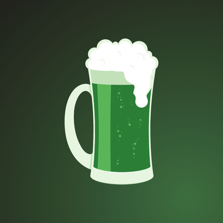 Mug of green beer with white foam - symbol of St Patrick Day in flat style. Isolated vector illustration of traditional alcoholic drink for 17 March holiday party design.
