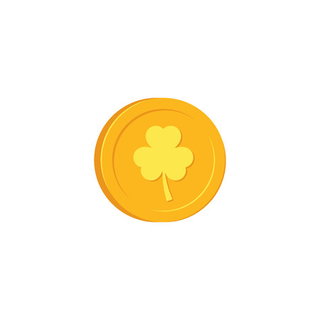Golden coin with clover sign - traditional symbol of St Patrick Day in flat style. Vector illustration of cash gold isolated on white background for 17 March holiday design.